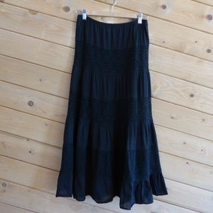 Studio M Boho Waistband Elastic Maxi Long Skirt S